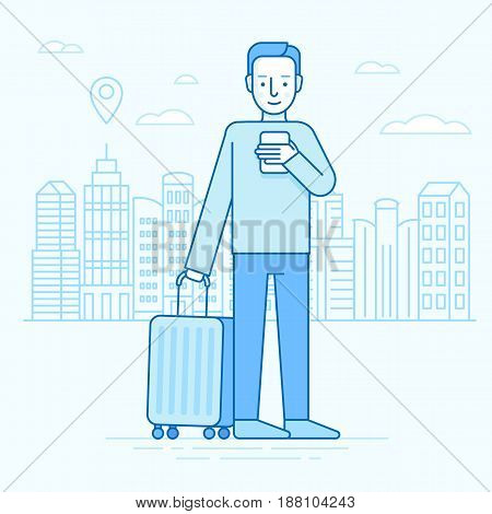Vector Illustration In Trendy Flat Linear Style And Blue Colors - Travel Concept And Icon