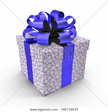 Square blue giftbox with lid tied ornamental ribbon on white background. 3D illustration
