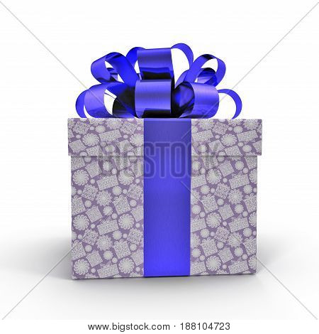 Blue gift box with ribbon on white background. Side view. 3D illustration