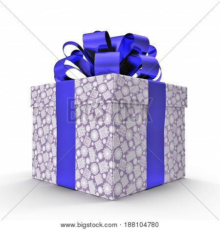 Isolated blue gift box on white background. 3D illustration