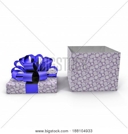 Empty Square blue giftbox on white background. Side view. 3D illustration