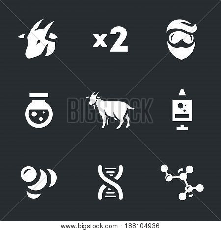 Goat, two, scientist, flask, animal, syringe, mutation, DNA.