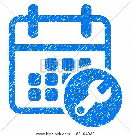 Grunge Calendar Setup icon with grunge design and scratched texture. Unclean vector blue pictogram for rubber seal stamp imitations and watermarks. Draft emblem symbol.
