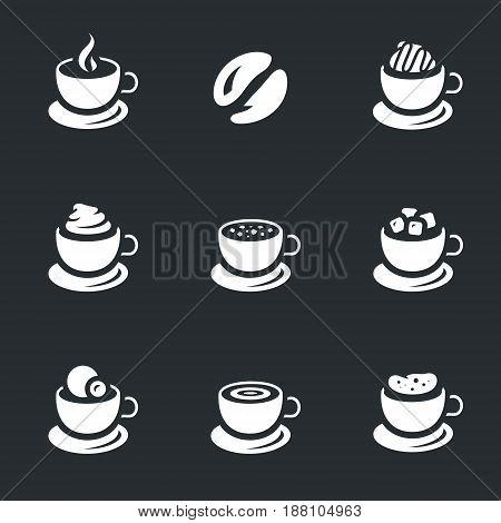 Espresso, seed, cappuccino, glasse, latte, americano, mocha, macchiato.
