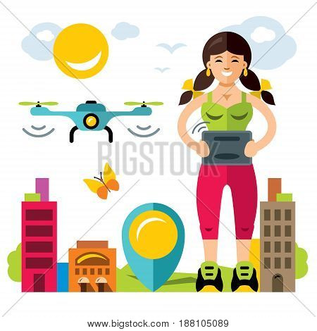 Woman with remote control operates a flying drone. Isolated on a white background