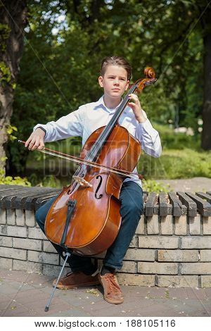 Boy playes on the contrabass in the park