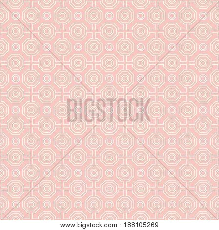 Geometric pink and white abstract octagonal background. Geometric abstract ornament. Seamless modern pattern