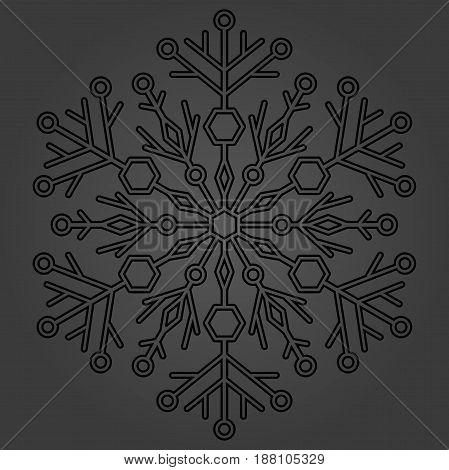 Round dark snowflake. Abstract winter ornament. Fine snowflake