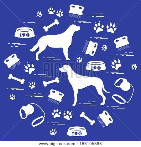 Cute Vector Illustration Goods To Care For Dogs Arranged In A Circle. Health Care, Vet, Nutrition, E