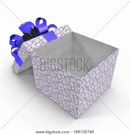 Empty blue gift box on white background. 3D illustration