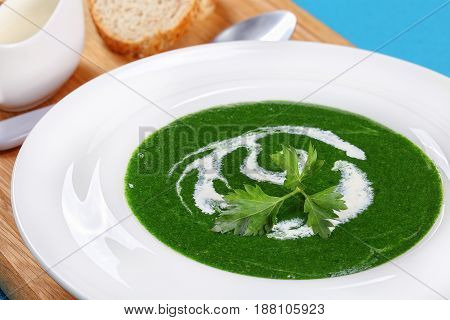 Close-up Of Summer Healthy Spinach Soup
