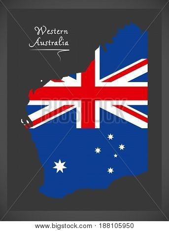 Western Australia Map With Australian National Flag Illustration