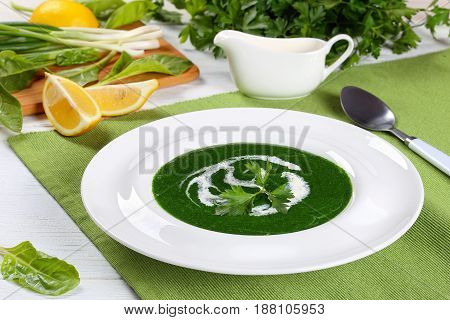 Delicious Healthy Spinach Soup, Top View