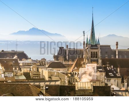 Skyline of Lausanne Switzerland with Saint-Francois Church. Lausanne, Vaud, Switzerland.