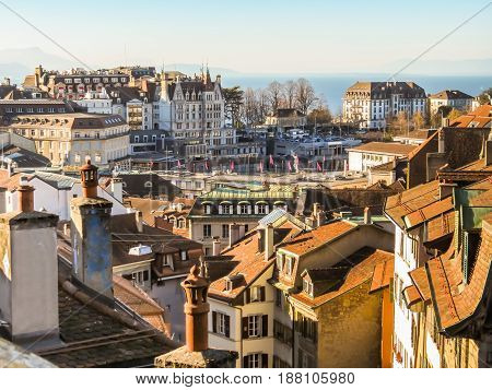 Skyline of Lausanne in the morning Switzerland. Vaud, Switzerland.