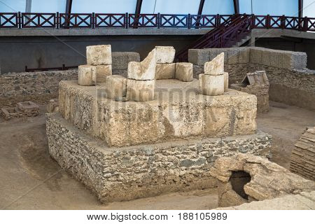Ruins of a roman emperor tomb at Viminacium archeological site near Danube river in Serbia