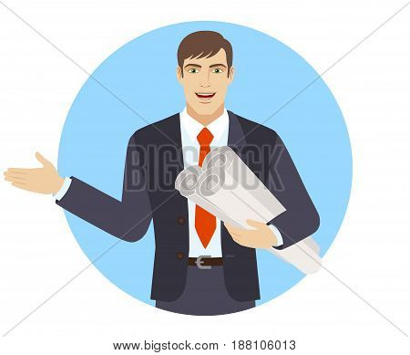 Businessman holding the project plans and showing something beside of him. Portrait of businessman character in a flat style. Vector illustration.