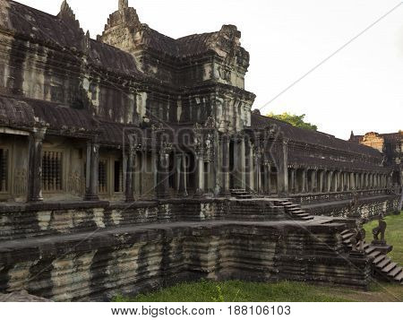 Entrance to the Angkor Wat Temple in Cambodia.