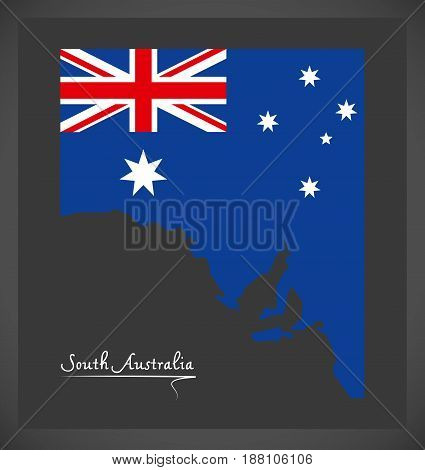 South Australia Map With Australian National Flag Illustration
