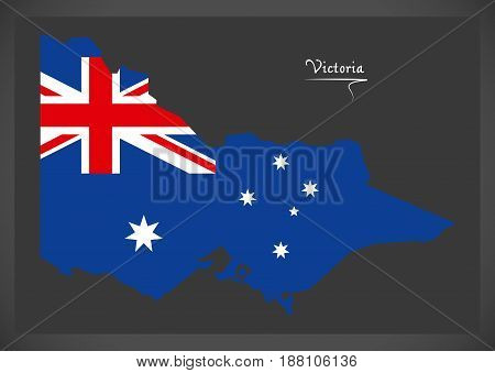 Victoria Map With Australian National Flag Illustration