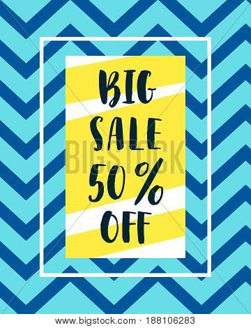 Sale Banner Template in creative retro geometric style of 80s, 90s. Hand written brush lettering text. Trendy Colors. Vector illustration