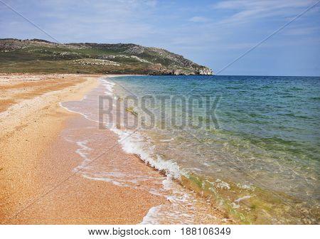 deserted sandy seashore. Black sea landscape Crimea
