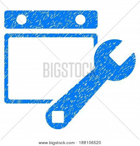 Grunge Date Setup icon with grunge design and dust texture. Unclean vector blue pictogram for rubber seal stamp imitations and watermarks. Draft emblem symbol.