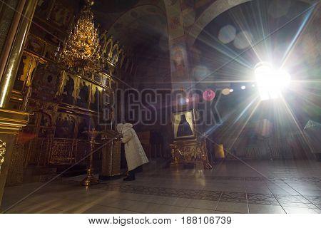 Kazan, Russia, 9 february 2017, Zilant monastery - Inside Christian Church - orthodox church at sunny day, horizontal