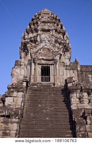 Steps leading up to a tower in Angkor Wat Temple, Cambodia.