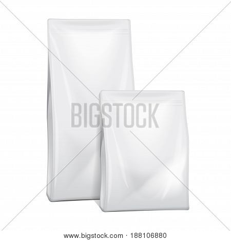 Blank Foil Or Paper Food or Household Chemicals Bag Packaging. sachet Snack Pouch Food For Animals. Vector mock up illustration for your design