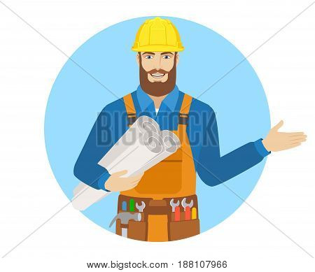 Welcome! Worker holding the project plans and showing something beside of him. Portrait of worker character in a flat style. Vector illustration.