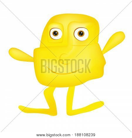 Yellow cute smiling monster character - alien character