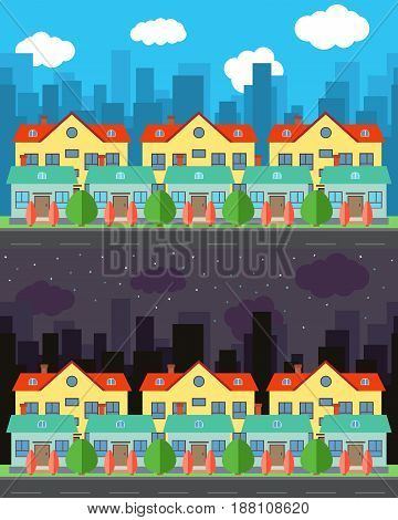Vector city with one-story houses and two-story houses behind them in the day and night. Summer urban landscape. Street view with cityscape on a background