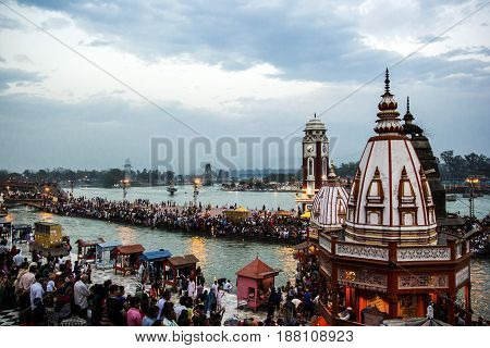 HARIDWAR, INDIA - MARCH 23, 2014: Har Ki Pauri is a famous ghat on the banks of the Ganges.