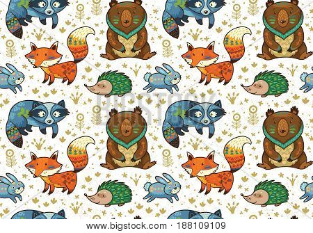 Seamless pattern with woodland animals. Cartoon characters with tribal ornaments. Vector illustration