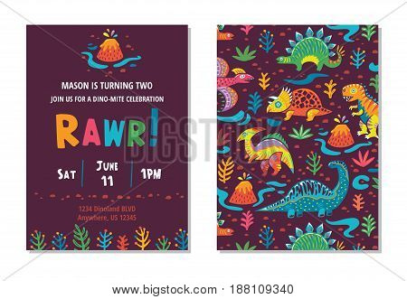 Kids birthday invitation card with cute cartoon dinosaurs in bright colors.