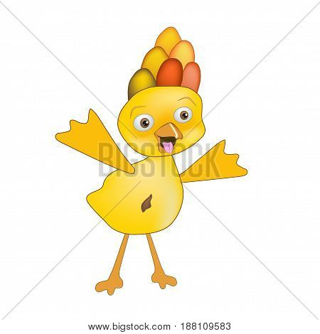 Yellow duckling cute smiling monster - alien character