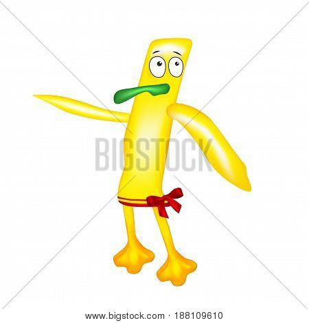Yellow cartoon cute monster duckling - alien character