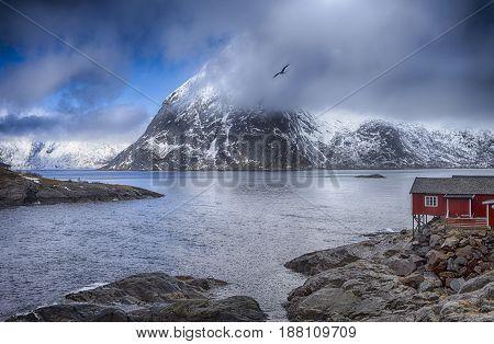 Traditional Norwegian Village Hamnoy at Lofoten Island in Norway.Horizontal Image