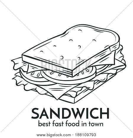 Hand drawn sandwich icon. Vector badge fast food sketch style for brochures, banner, restaurant menu and cafe