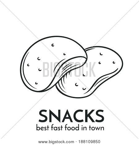 Hand drawn snacks icon. Vector badge fast food sketch style for brochures, banner, restaurant menu and cafe