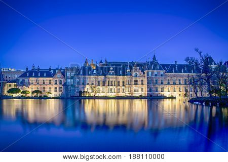 Binnenhof Palace of Parliament inThe Hague in The Nerherlands Shot During Blue Hour Time. Horizontal Image Orientation