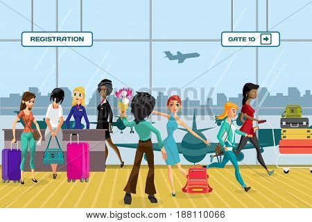 Passengers in queue waiting check-in counters at airport near reception area. Young women with things in the airport terminal awaiting the flight. Flat vector cartoon illustration