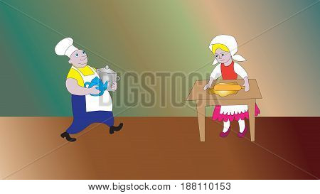 Cheerful cook and woman mistress prepare breakfast.