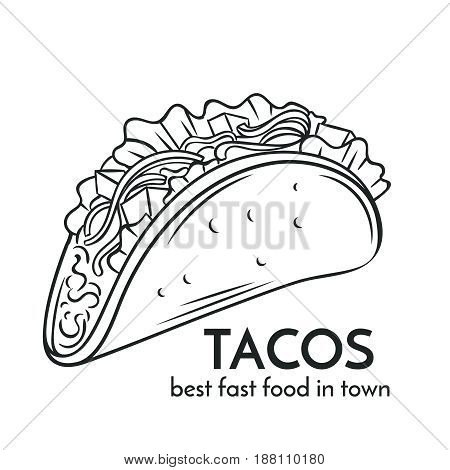 Hand drawn tacos icon. Vector badge fast food sketch style for brochures, banner, restaurant menu and cafe