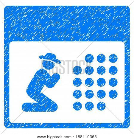 Grunge Pray Calendar icon with grunge design and dirty texture. Unclean vector blue pictogram for rubber seal stamp imitations and watermarks. Draft emblem symbol.