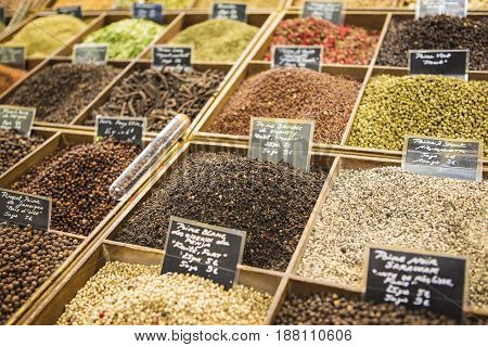 Aromatic spices on the market of the south of France.