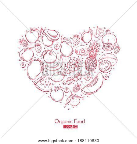 Poster heart composition with hand drawn fruits for farmers market menu design. Healthy food concept. Vector vintage illustration.