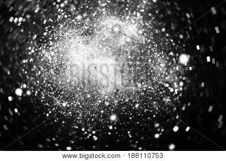 Abstract Square Bokeh On Dark Background. Fantasy Fractal Texture In Black And White Colors. Digital