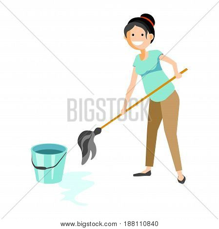 Vector illustration of a cheerful woman wiping floor isolated on white.